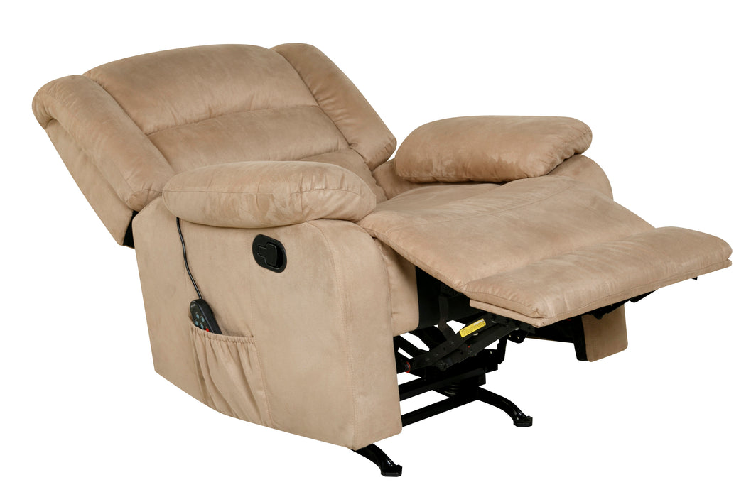 Rocker Recliner with Massage, Heat and Dual USB (Grey, Beige, Brown, or Camouflage)