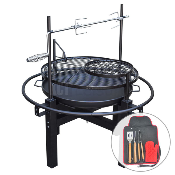 KCT Outdoor Round BBQ Grill with Rotisserie and Tool Set