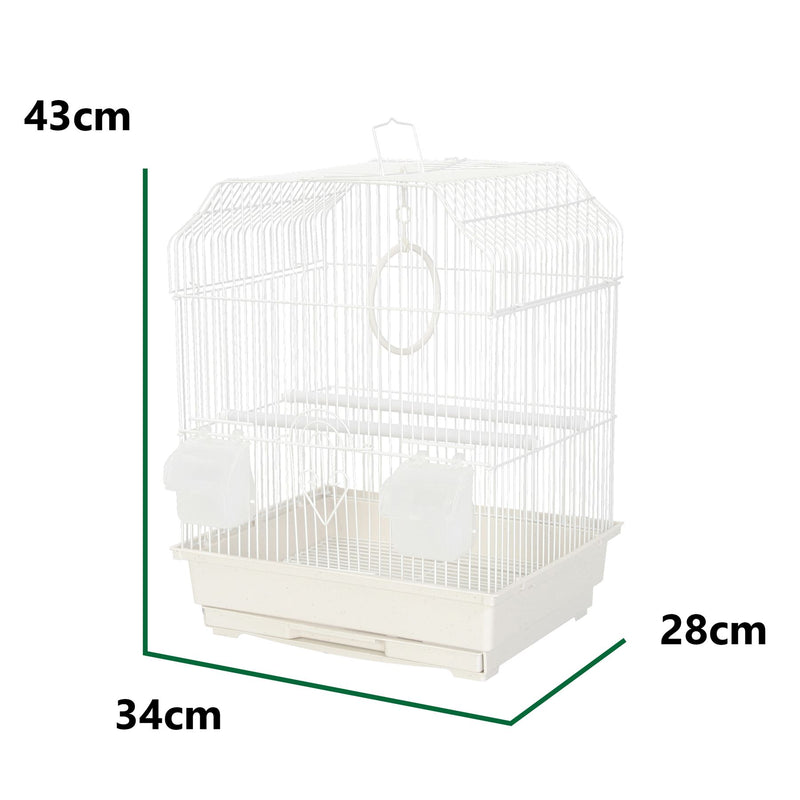 KCT Salvador Small Exotic Bird Travel Cage - White