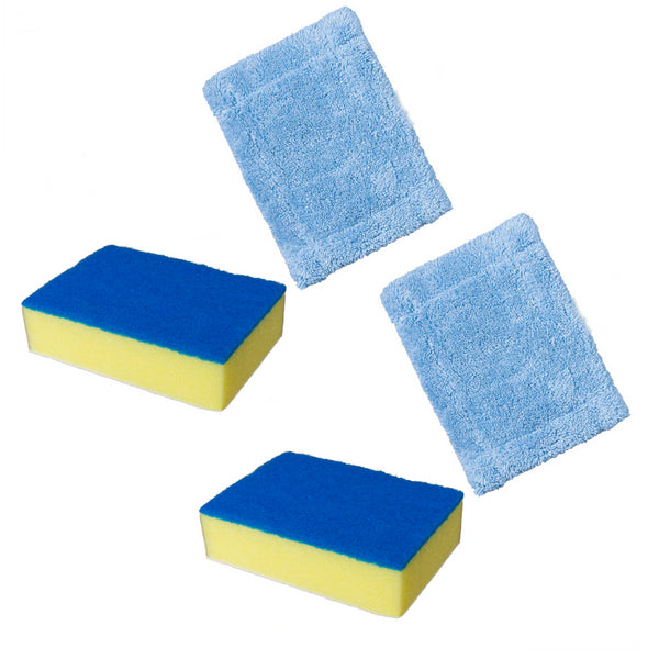 KCT Telescopic Cleaner Accessory Pack - 2 x Scourer/Sponge + 2 Cloth