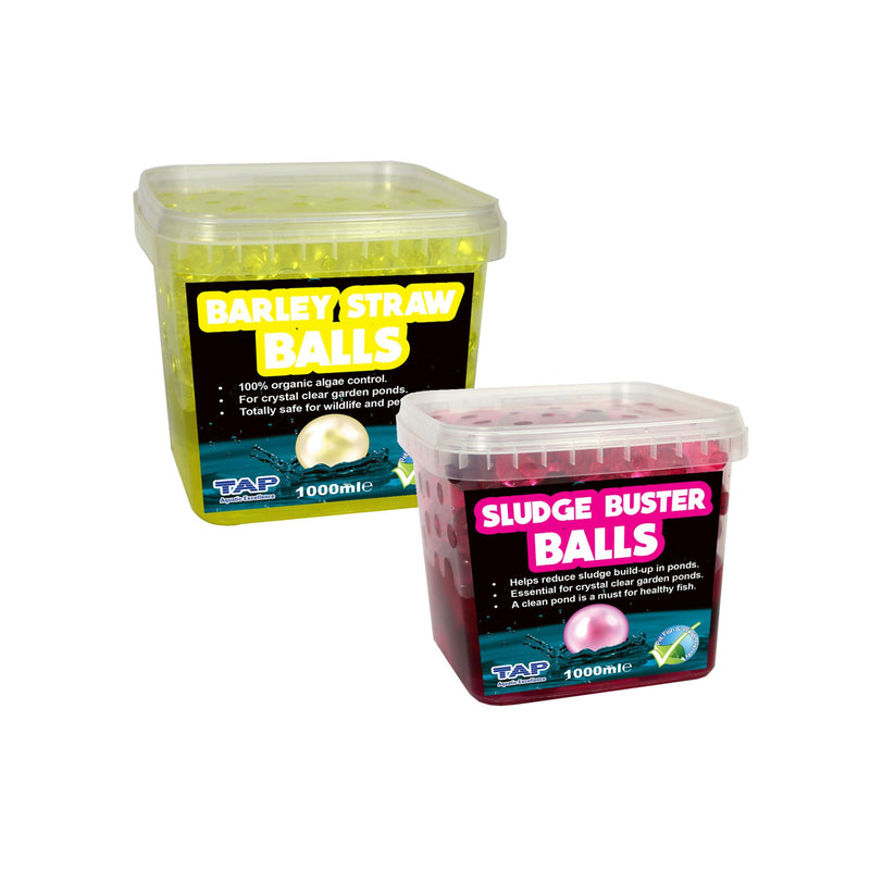 TAP Twin Pack 1 Litre Sludge Buster and 1 Litre Barley Straw Balls
