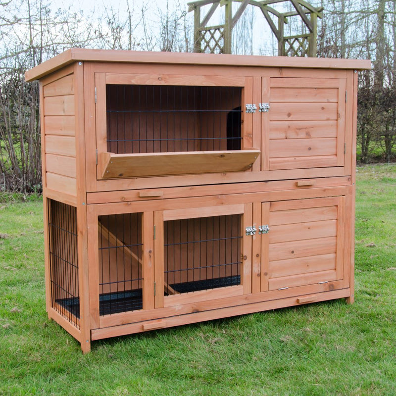 KCT 4ft Milan Double Rabbit Hutch with Enclosed Run & Cover