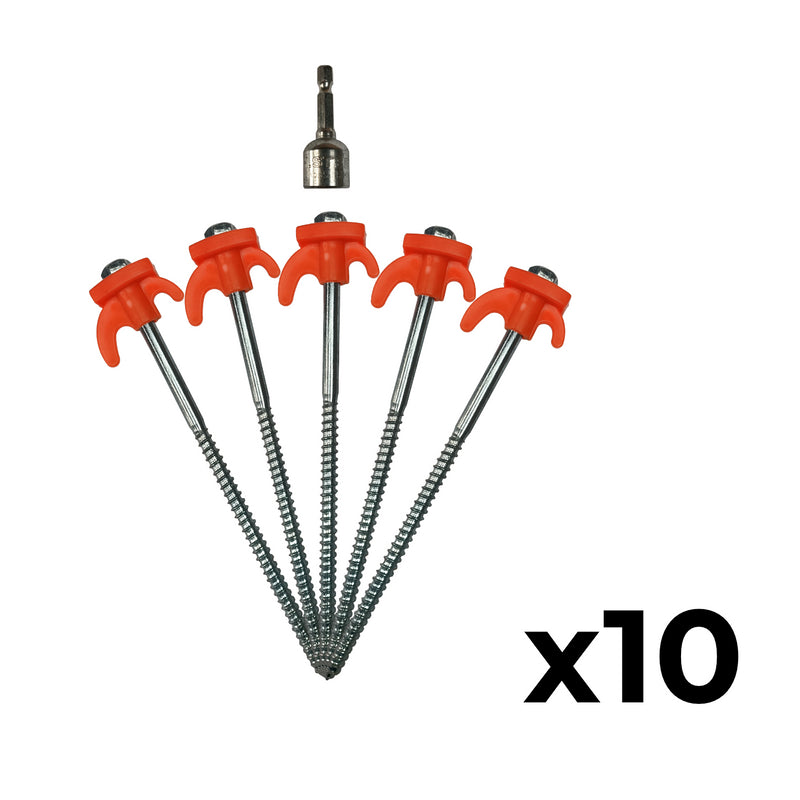 Screw In Tent Pegs With Drill Adapter
