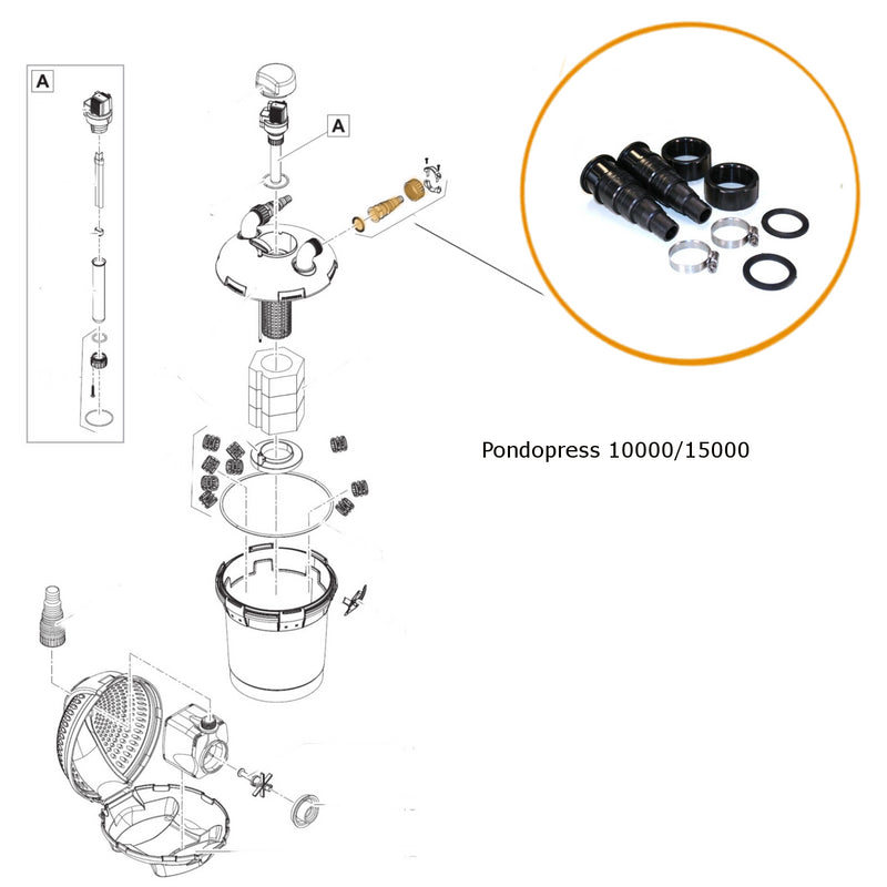Oase Pontec Replacement Hosetail kit for Pondopress 10000/15000 Pressure Filter - Part 35607