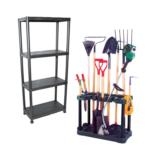 KCT Garden Tool Rack Trolley with Wheels and Shelf Storage Unit