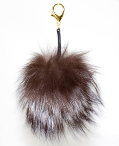 Brown Fox Fur Purse Charm