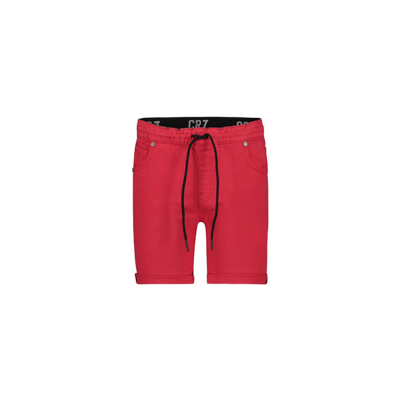 JOGGER 5-POCKET SHORTS IN BRIGHT RED STRETCH DENIM - CR7 Cristiano Ronaldo