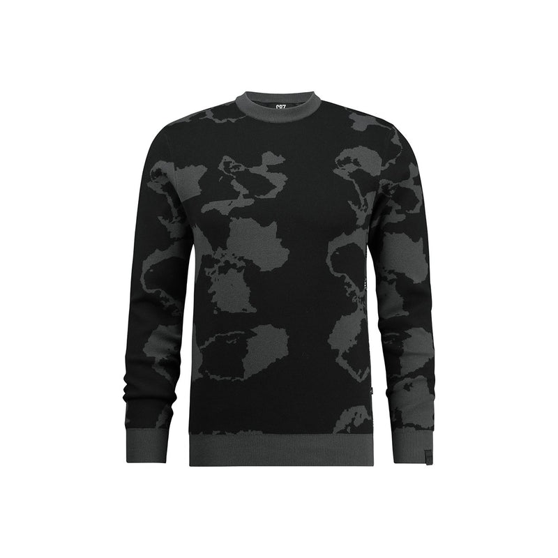 Regular fit crew neck jacquard pullover in black camouflage - CR7 Cristiano Ronaldo