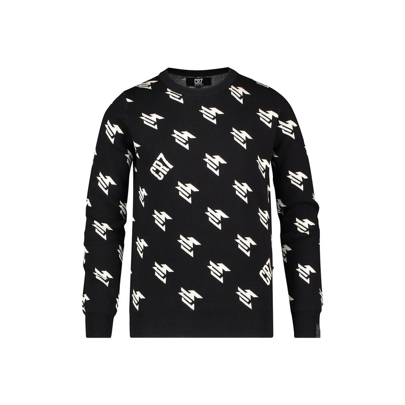 Regular fit crew neck pullover with geometric dessin - CR7 Cristiano Ronaldo