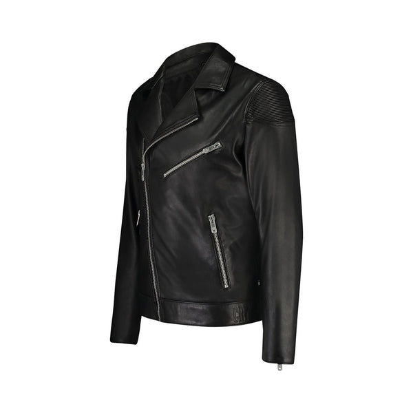 Regular fit leather biker jacket - CR7 Cristiano Ronaldo