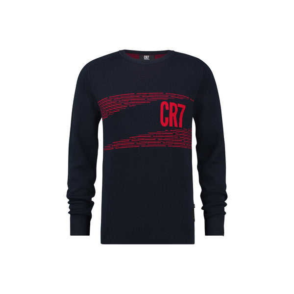 REGULAR FIT RAGLAN JACQUARD PULLOVER WITH LOGO DESIGN - CR7 Cristiano Ronaldo