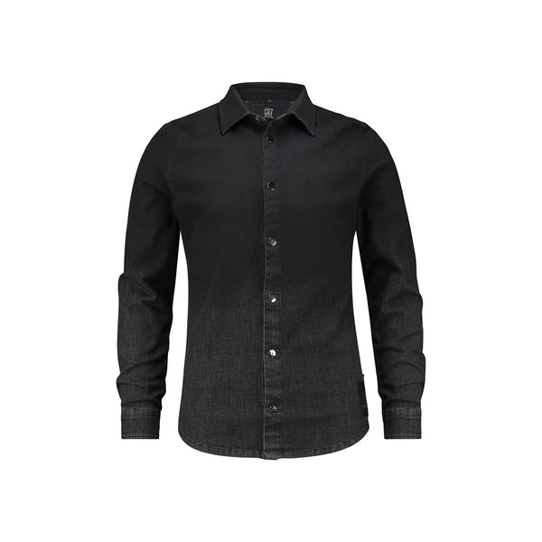 Regular fit shirt in black denim with degrade effect - CR7 Cristiano Ronaldo