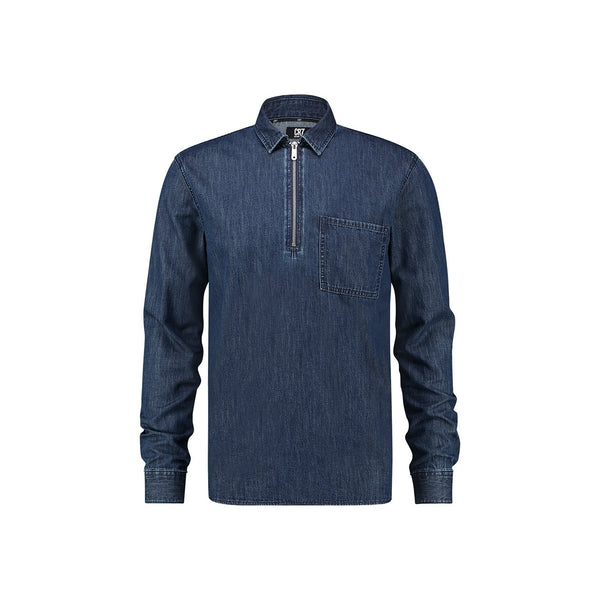 Regular fit shirt with zipper detail in medium indigo denim - CR7 Cristiano Ronaldo