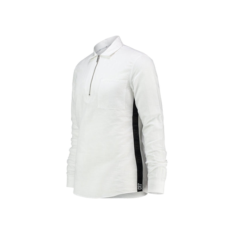REGULAR FIT SHIRT WITH ZIPPER IN LINEN COTTON BLEND - CR7 Cristiano Ronaldo