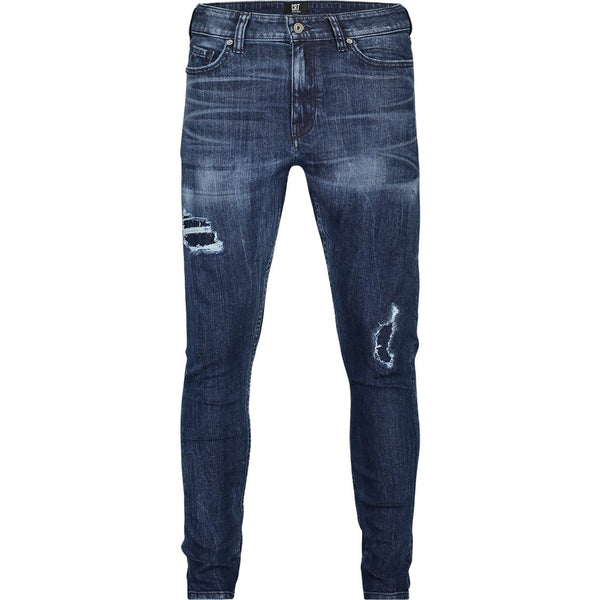Skinny fit jeans with destroys in bright indigo stretch denim - CR7 Cristiano Ronaldo