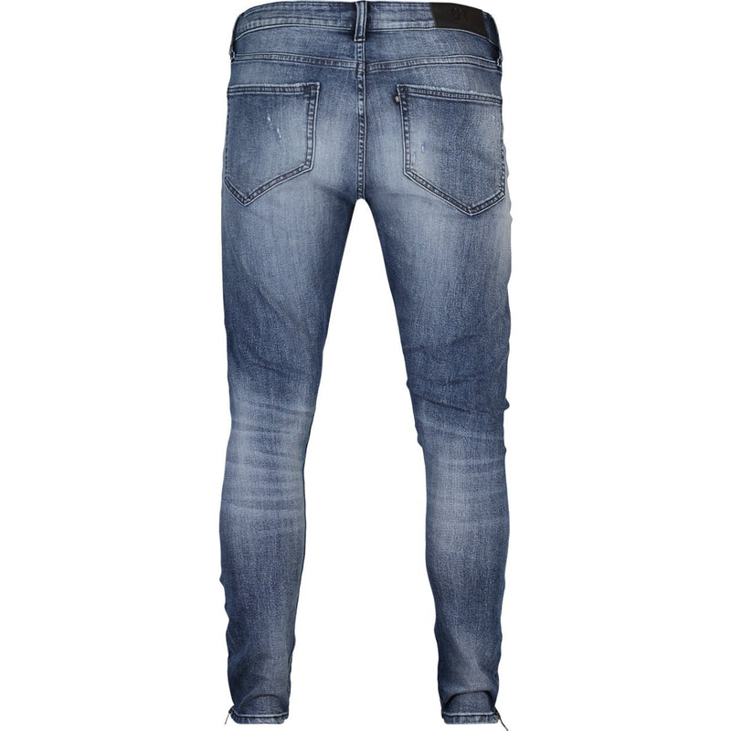 Skinny fit jeans with zip details in medium indigo stretch denim - CR7 Cristiano Ronaldo