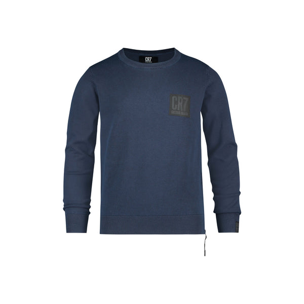 SLIM FIT CLASSIC CREW NECK PULLOVER IN NAVY - CR7 Cristiano Ronaldo