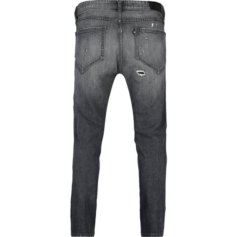 Slim fit jeans with destroys in worn black stretch denim - CR7 Cristiano Ronaldo