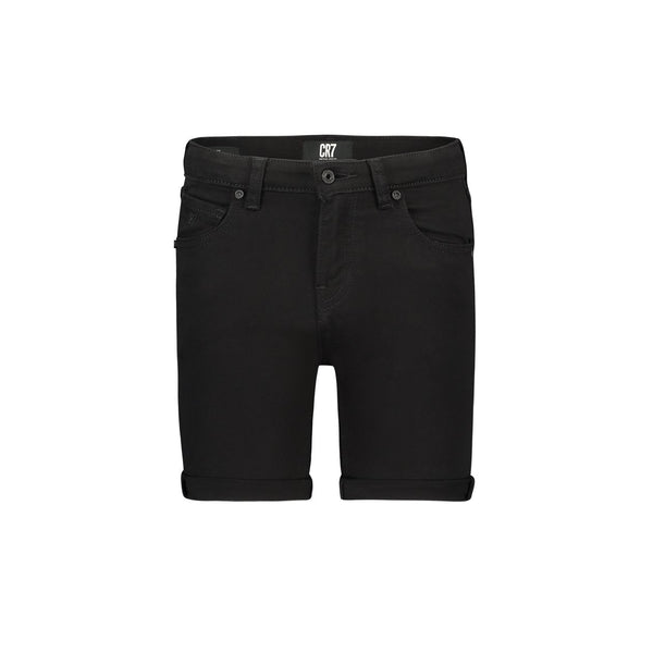 Slim fit shorts in black stretch denim - CR7 Cristiano Ronaldo
