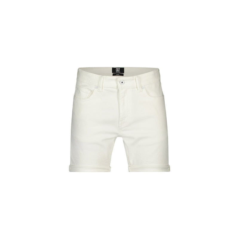 Slim fit shorts in bright white stretch denim - CR7 Cristiano Ronaldo