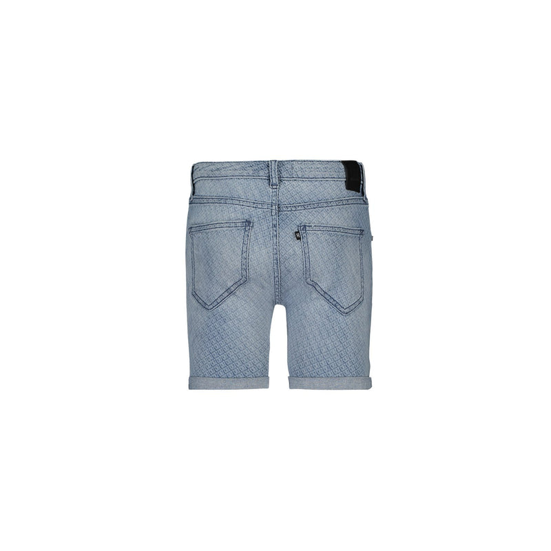 SLIM FIT SHORTS IN MONOGRAM LIGHT BLUE STRETCH DENIM - CR7 Cristiano Ronaldo