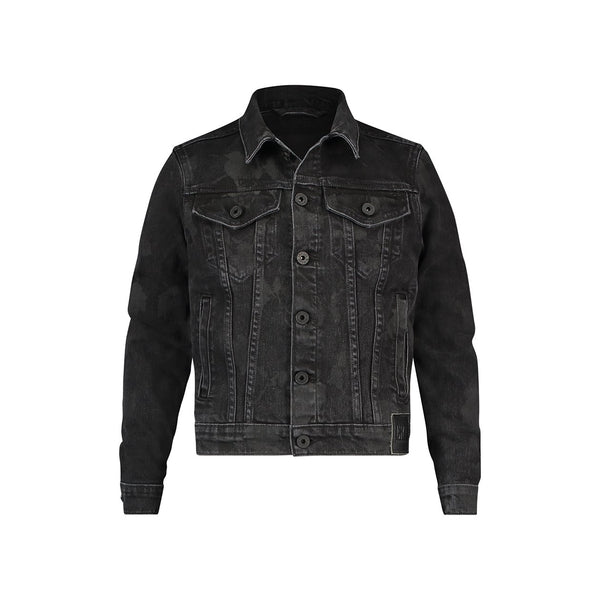 Trucker jacket in black camouflage stretch denim - CR7 Cristiano Ronaldo
