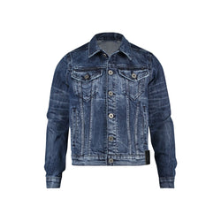 Trucker jacket with CR7 logo in bright indigo stretch denim - CR7 Cristiano Ronaldo