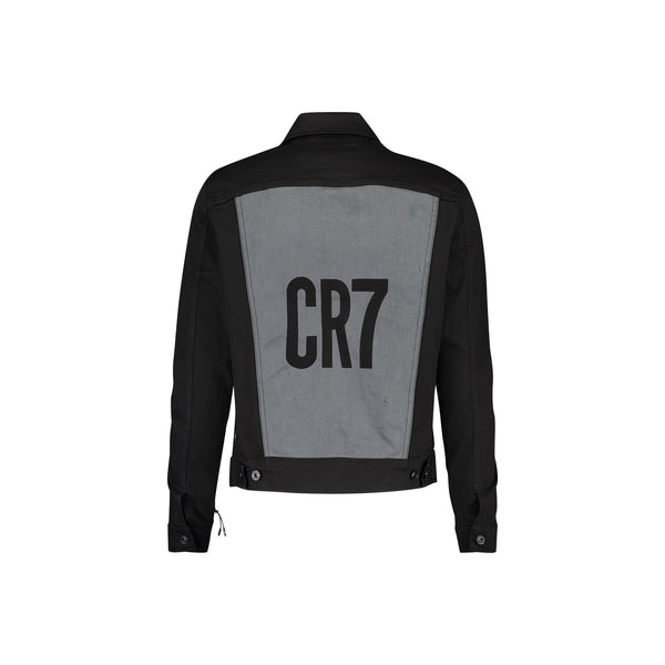 TRUCKER JACKET WITH CR7 LOGO IN CLEAN BLACK STRETCH DENIM - CR7 Cristiano Ronaldo