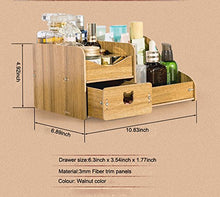 Load image into Gallery viewer, REARAND DIY Creative Multifunction Wooden Cosmetics Storage Box Makeup Organizer Desktop Drawer Box Bamboo Desk Tidy