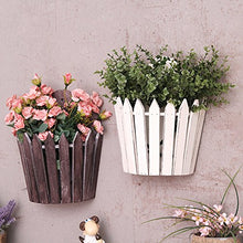 Load image into Gallery viewer, REARAND American Village Style Wall Hanging Basket Wooden Basket Storage Flower Garden Home decoration Wall Hanging Flower Basket (White)