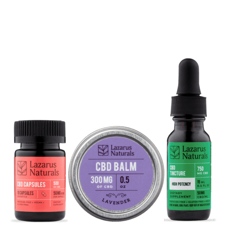 CBD High Potency Gift Pack - Balm, Capsules & Tincture - Lazarus Naturals - Sold by Peacefully You