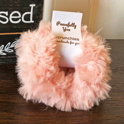 Pink Faux Fur Scrunchies - Set of 4 - Peacefully You