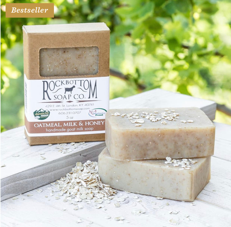 Handmade Goat Milk Bar Soap - Oatmeal, Milk & Honey - Sold by Peacefully You
