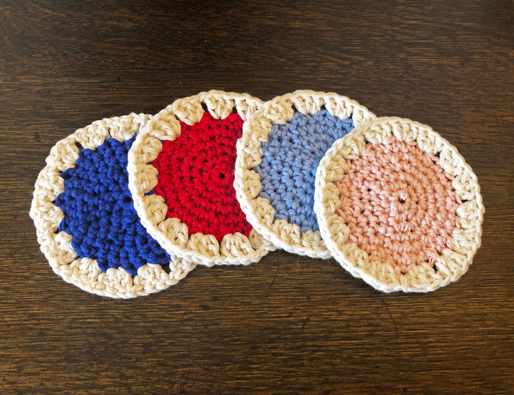 DRINK COASTERS - MULTI-COLOR SET OF 4 - Handmade by Peacefully You