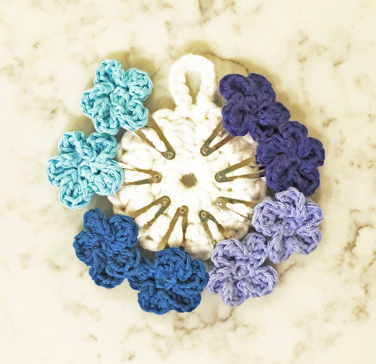 Flower Snap Hair Clips with 5 Pedals - Blue Mix - Handmade by Peacefully You