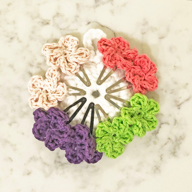 Flower Snap Hair Clips with 5 Pedals - Lime Mix - Handmade by Peacefully You