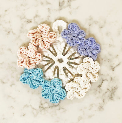 Flower Snap Hair Clips with 5 Pedals - Pastel Mix - Handmade by Peacefully You