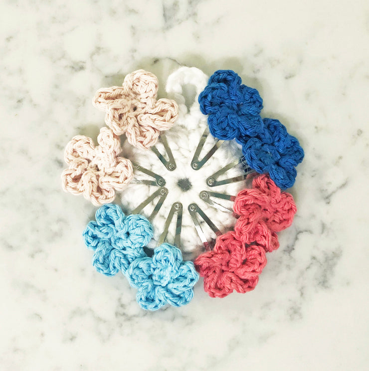 Flower Snap Hair Clips with 5 Pedals - Pink/Aqua Mix - Handmade by Peacefully You