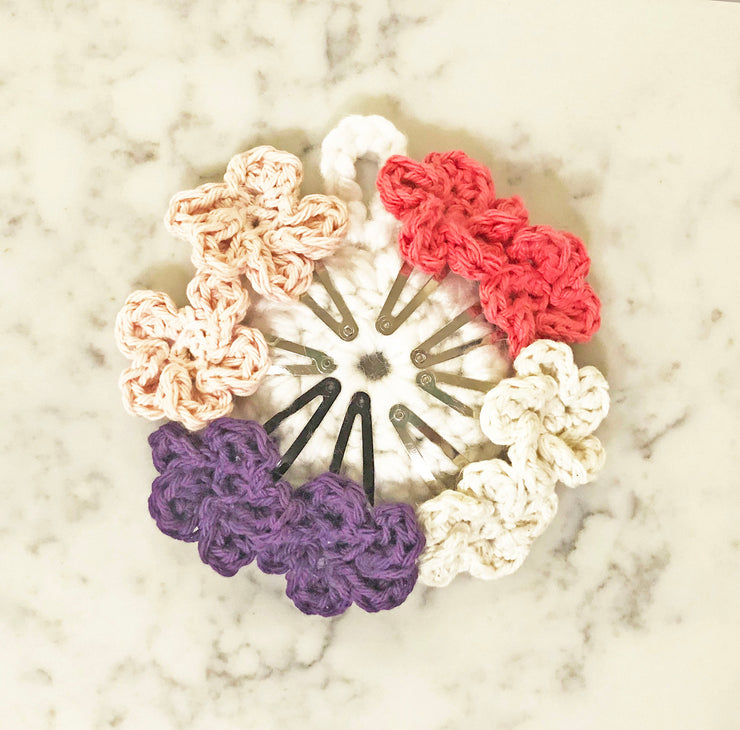 Flower Snap Hair Clips with 5 Pedals - Pink Mix - Handmade by Peacefully You