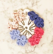 Flower Snap Hair Clips with 5 Pedals - Pink/Blue Mix - Handmade by Peacefully You