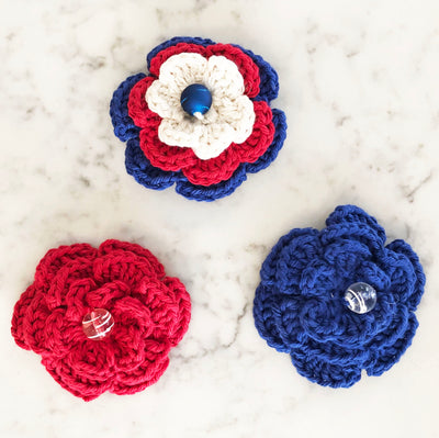 Patriotic Flower Hair Clips with 5 Petals - Set of 3 - Handmade by Peacefully You