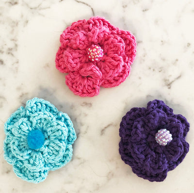 Flower Hair Clips with 5 Petals - Pink, Purple & Teal - Handmade by Peacefully You