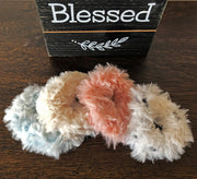 Faux Fur Scrunchies - Multi-Color - Set of 4 - Handmade by Peacefully You