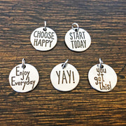 Charm Bracelet - Inspirational Sayings ♥ 6 Choices - Peacefully You
