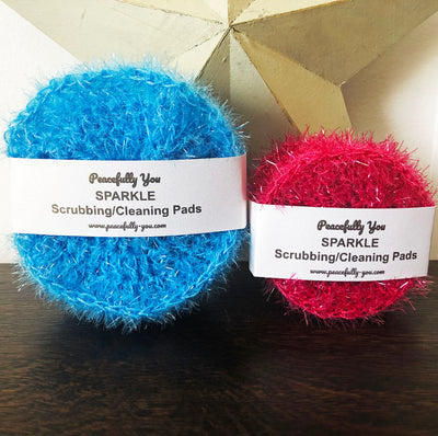 SPARKLE Dish Scrubbies/Cleaning Pads - 6 FUN Colors - Handmade by Peacefully You