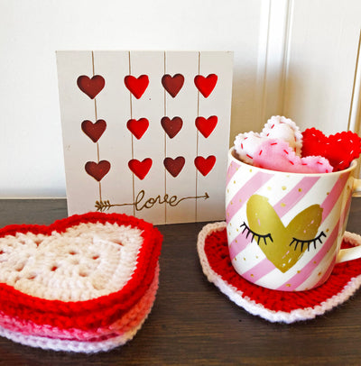 Heart Drink Coasters - Set of 6 - Handmade by Peacefully You