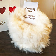 Cream Faux Fur Scrunchies - Set of 4 - Handmade by Peacefully You