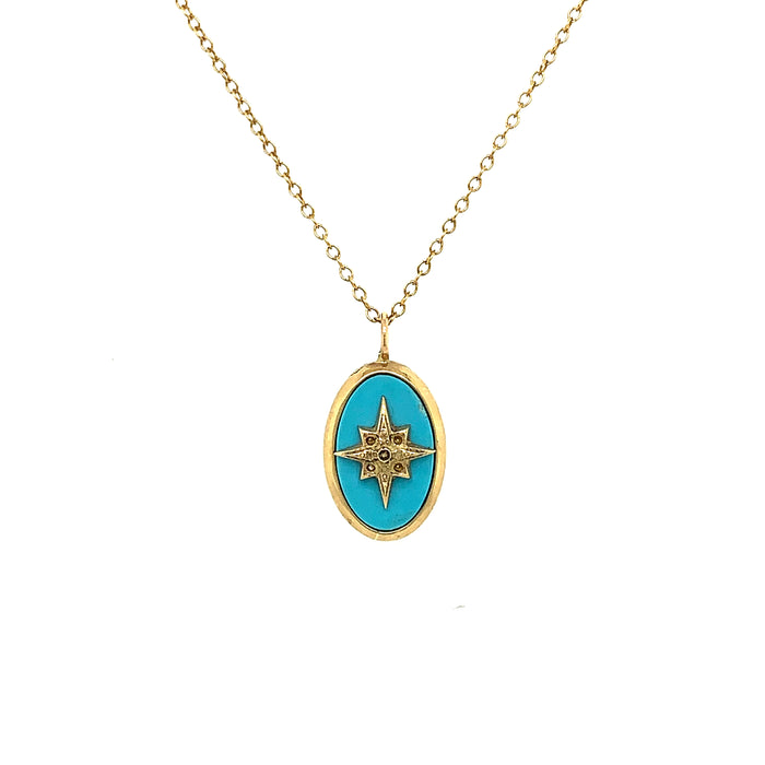 Perry De La Rosa Darcy Turquoise Starburst Necklace