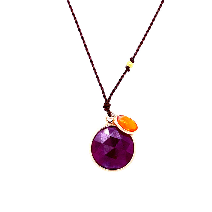 Margaret Solow 14kt Ruby + Opal Cord Necklace