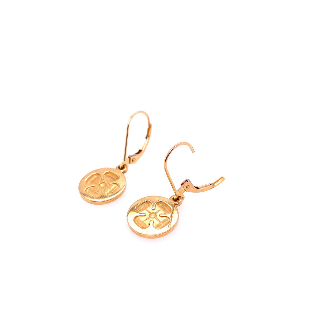 Exclusive 14kt Yellow Gold Ornate Clover Disc Earrings